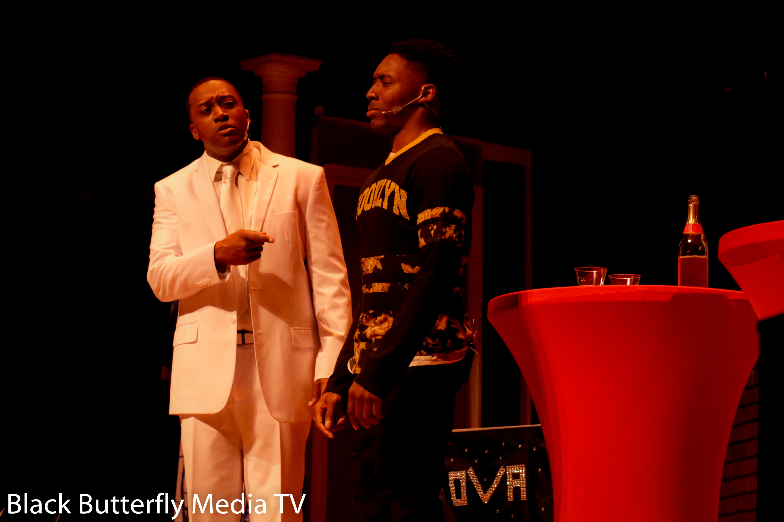 Young Bobby (Jalen Hill) is confronted by an angel (Clinton White) in Uncover Church Folks.