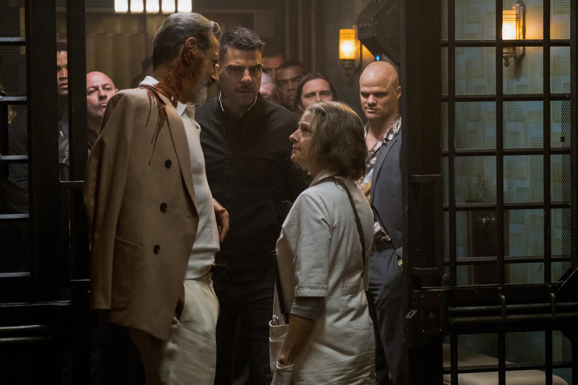 Goldblum, Quinto and Foster in Hotel Artemis.