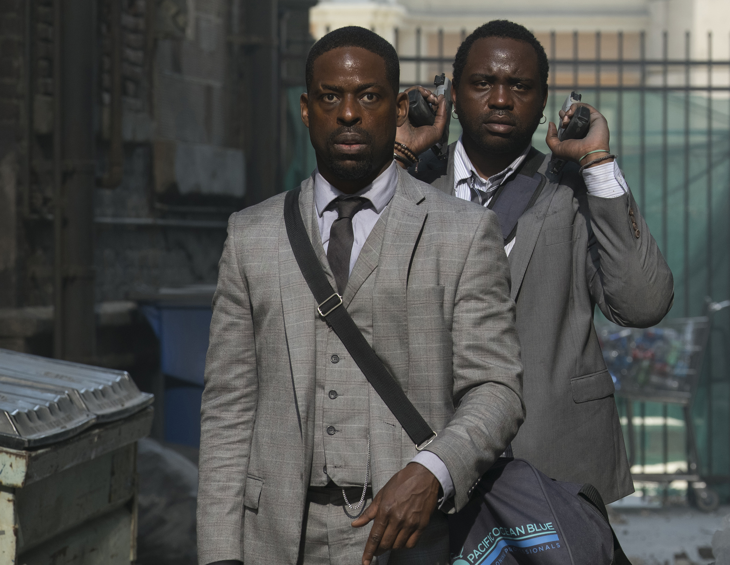 Sterling K. Brown and Brian Tyree Henry in HOTEL ARTEMIS.