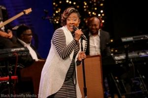 Le'Andria Johnson singing at 95.7 Hallelujah FM Worship Christmas. #957Christmas — at Hope Church.