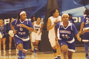 TSU's Taylor Roberts and Franceska Brown race down the court.